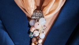 Ожерелье из 100% шелка и натуральных камней