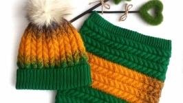 Зимний комплект шапка и снуд.