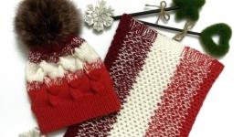 Вязаный зимний комплект шапка и снуд