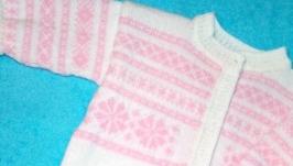 Бело-розовый комбинезон