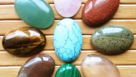 Кабошоны 30х20 мм натуральных камней