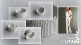Браслет ′Марсель′ белый ручной работы из чешского бисера