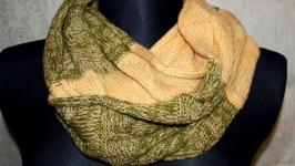 Снуд-шарф в полоску из 2 цветов (оливкового и жёлтого)