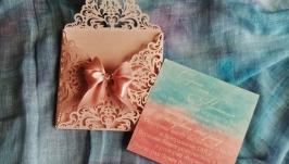 запрошення на весілля в ажурному конверті