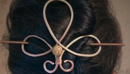 Заколка для волос медная ′Трилистник-1′