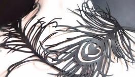 Колье из натуральной кожи ′Павлинье перо′