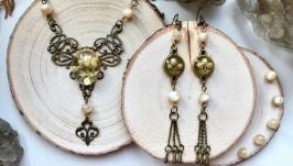 Комплект Колье и Сережки Pearl set