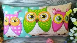 Подушка три совы  ,  52 см * 28 см