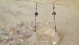 Серьги - капли с горным хрусталем и аметистом ′Виола′