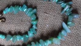 Комплект :Намисто і браслет з бірюзового нефриту.