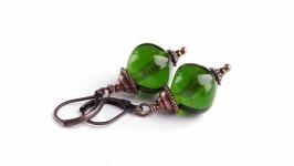 Серьги фриформ ярко-зеленые