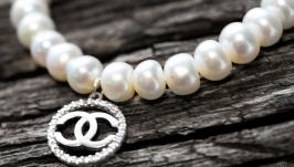 Браслет натуральні перли та срібло 925 з цирконами