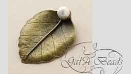 Подвеска кулон ′ Лист с жемчужиной′(металлическая) античная бронза.