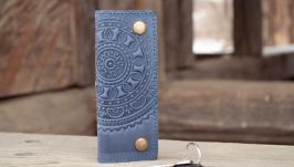 Ключница кожаная серо-синяя с тиснением Узором Этно