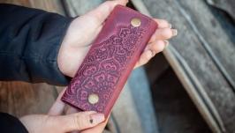 Чехол для ключей кожаный фиолетовый с тиснением Восточный сад Бохо