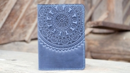 Обгортка на паспорт шкіряна синя з орнаментом тисненням Етно