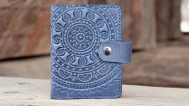 Визитница кожаная светло-синяя с орнаментом Этно Кардхолдер