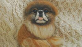 Валяная портретная брошь из шерсти ручной работы Пекинес