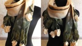 ТЮЛЬПАНИ вовноваляний шарф з брошкою