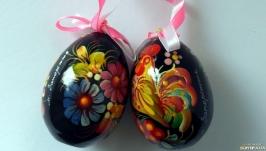 Декоративное яйцо на ленте ручная роспись подпись автора. Подарок на Пасху