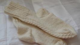 Носки с узором Три косички вязаные 22,5см