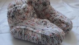 Носки-сапожки детские вязаные ручная работа 14см