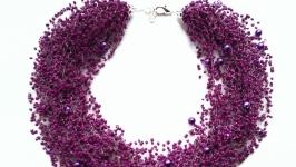 Воздушное колье фиолетовое Лучший подарок ручной работы