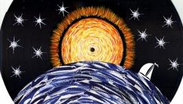 Восход. Акриловая картина на виниловом винтажном диске. Авторская работа