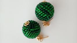 Серьги бусины зеленые