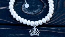 Браслет натуральні білі перли та срібло 925 корона і застібка