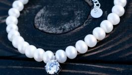 Браслет натуральні білі перли високого класу та срібло 925 проби