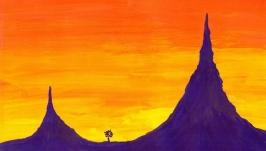 Видеурок живописи для начинающих. Горный пейзаж за 15 минут. Гуашь, акрил
