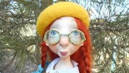 Авторская подвижная куколка Лимончелла из папье маше