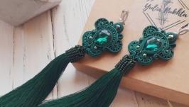 Сутажні сережки ′Таємничий смарагд′