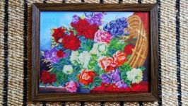 Красивая картина бисером ′Корзина роз′