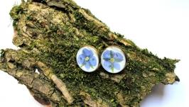 Серьги-гвоздики c цветами вероники