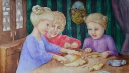 Акварельная картина ′В гостях у бабушки′