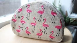 Льняная косметичка ′Фламинго′