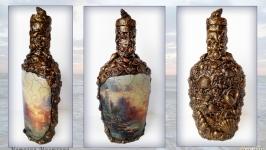 Морской сувенир Декор бутылки в подарок моряку Море спокойствия