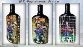 Футбольному фанату ФК Барселона Месси Лионель Декор бутылки Подарок мужчине