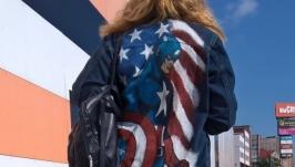 Джинсовая куртка, джинсовка с росписью