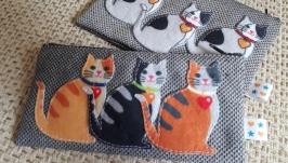 тут изображено Удобный и креативный пенал с котами