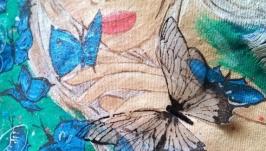 Джинсовая куртка, джинсовка с росписью и бабочками из органзы