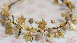 Яркий золотой ободок венок под любой наряд