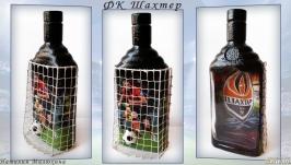Декор бутылки Футбольному фанату ФК Шахтер Подарок мужчине на день рождения