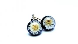 Серьги полусферы с цветами хризантемы