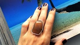 Кольцо женское с небольшим натуральным агатом