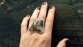 Женское кольцо с натуральным агатом