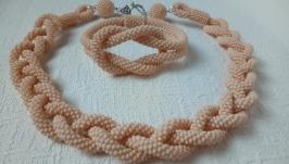 Бежевый лариат и браслет - украшение, комплект из бисера, колье и браслет