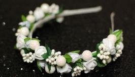 Обруч ободок венок в белом цвете под любой наряд на выпускной